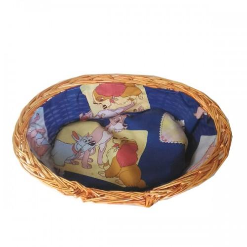 MANTOVANI Cuccia cesta in vimini per Cane e Gatto 40x28x14h cm