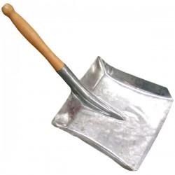 Paletta zincata per carbone o spazzatura 23x23 cm con manico in legno da 25 cm