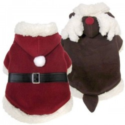 FouFou Dog Reversible Santa-Reindeer Suit Cappottino per Cane Natalizio Tg. S/25 cm