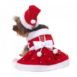Pooch Outfitters Santa Paws Dress Cappottino Natalizio per Cane Tg. M/27 cm