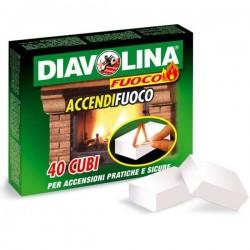 Diavolina 40 Cubi Accendifuoco per Legno e Carbonella
