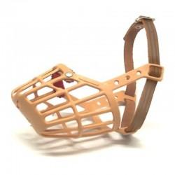 Museruola in plastica mis. 3 con cinturino in cuoio per Cane