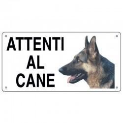 Targa in metallo Attenti al cane con Pastore Tedesco 25x12,5 cm