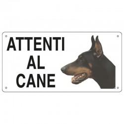 Targa in metallo Attenti al cane con Dobermann 25x12,5 cm