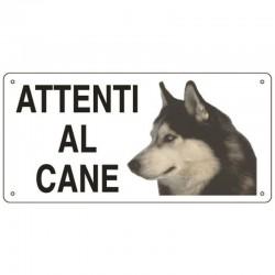Targa in metallo Attenti al cane con Husky 25x12,5 cm