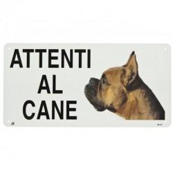 Targa in metallo Attenti al cane con Boxer 25x12,5 cm