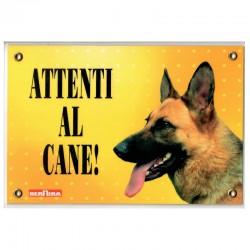 Targa in Plastica Attenti Al Cane 21x14 cm con Cane Pastore Tedesco