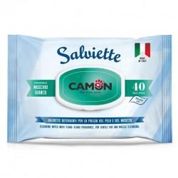 Camon Salviette al Muschio Biancoo per Cane e Gatto 30x20 cm Conf. da 40 pz