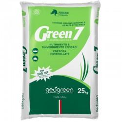Geogreen Green 7 Concime organo minerale per Tappeti Erbosi da 25 kg per 500mq - NPK (SO3) 15-5-6 (20) con Boro, Ferro e Zinco