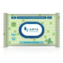 Arya Salviette al Tè Verde Biodegradabili per Cane e Gatto 30x20 cm Conf. da 30 pz