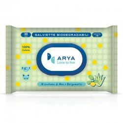 Arya Salviette al Aloe e Bergamotto Biodegradabili per Cane e Gatto 30x20 cm Conf. da 30 pz
