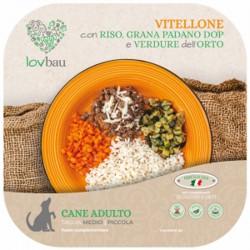 Lovbau Spezzatino di Vitellone con Riso, Grana e Verdure dell'orto Cibo Surgelato per Cane da 160 g