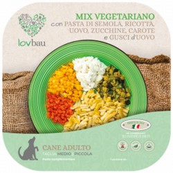 Lovbau Mix VegetarianoCon Pasta, Ricotta, Uovo, Zucchine E Carote Cibo Surgelato per Cane da 160 g