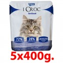 Pralzoo I Croc Sterilizzati Cibo Secco per Gatto con 72% di componenti di origine animale 2 kg (5x400 g)