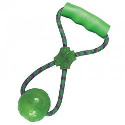 Kong Rope Squeezz Gioco con Mangilgia, Corda e Pallina con Squeaker da 25 cm
