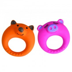 Camon Anello in latex con squeaker Fox & Pig Ring Gioco per Cane da 11 cm