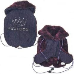 Rich Dog Jeans Crown Cappottino per Cane in Jeans e Swarovski Tg. 21 cm Viola