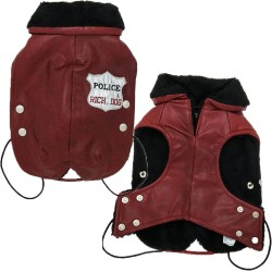 Rich Dog Police Cappottino per Cane in Similpelle e Pelliccia Tg. 35 cm