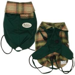Pet's Creation Free Time Cappottino Impermeabile Per Cane Tg. 80 cm Interno in lana Scozzese Verde