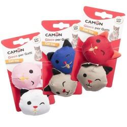 Camon Emoticat Gioco per Gatto con Catnip 2 Faccine in Tessuto da 6 cm