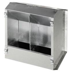 Mangiatoia a tramoggia in ferro per CONIGLI da 3 litri 2 scomparti 19x13x23h cm