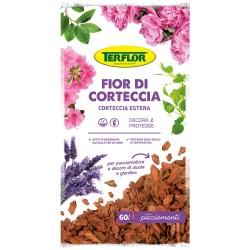 Terflor Fior di Corteccia Larice 60 lt Per Pacciamatura o Decoro Aiuole e Giardino