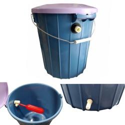 Serbatoio a Secchio 15 lt Con Galleggiante e Portagomma 10 mm Per Impianto Abbeveraggio Conigli o Gallinacei