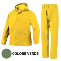 IS Completo Impermebile Giacca e Pantalone tg. L Colore Verde Areazione Ascelle e Dorso
