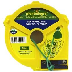 Piantallegra Piattina Animata con Filo Metallico Ricoperto PE colore verde da 50 metri con Lama per Taglio