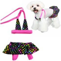 Pooch Outfitters Santorini Bikinis Tg. S Costume da Bagno per Cane a Pois