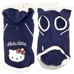 Love Pets T-Shirt per Cane Hello Kitty  Tg. XS/22 cm Blu Con Cappuccio e Sacca in Cotone