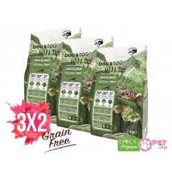 3x2 Gheda Dog&Dog Wild Adult Regional Forest 2 kg Cibo Secco Per Cane con Cervo Cinghiale Suino Grain Free