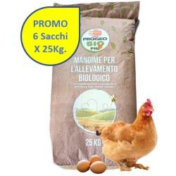 6X25 Kg Progeo BIOFORCE OVAIOLE PELLET Mangime Completo BIOLOGICO per GALLINE OVAIOLE