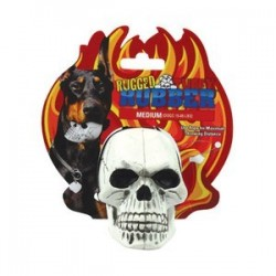 Tuffy® Rugged Rubber: Skull White Gioco in gomma per cane