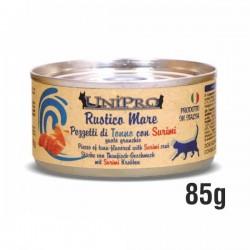 RUSTICO MARE pezzetti di TONNO con SURIMI gusto GRANCHIO per GATTO da 85 gr