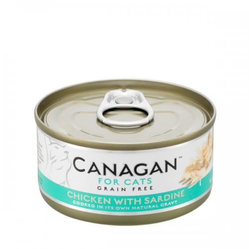 CANAGAN FOR CATS Cibo umido per GATTI grain-free da 75 gr - CHICKEN WITH SARDINE