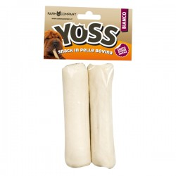 YOSS ROTOLOSSO BIANCO Snack in pelle naturale per Cane - 2 pz da 30 cm