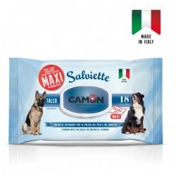 CAMON Salviette Maxi al Talco per cani grandi 30x40 cm Conf. da 18 pz