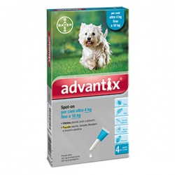 BAYER ADVANTIX Antiparassitario per Cani da 4 a 10 kg SPOT-ON da 4 pz