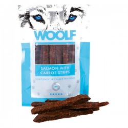 WOOLF STRISCE DI SALMONE & CAROTE Snack per Cani Monoproteico da 100gr