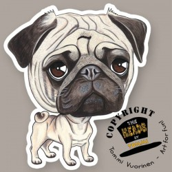 Magnete Dog caricature Pug / Carlino by Tommi Vuorinen
