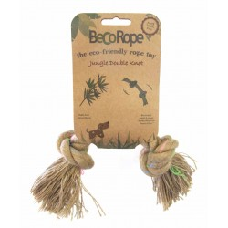 BECOROPE Gioco per Cane Corda Naturale Due Nodi, Medium 25 cm