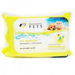 PROFESSIONAL PETS Salviette Detergenti per Cani Gatti e Cuccioli alla Citronella 40pz 30x20 cm