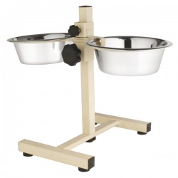 Stand regolabile Cuccioli con ciotole in acciaio Inox ø16,5cm 18x26cm,h30cm