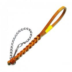 Guinzaglio corto in Cuoio Intrecciato per Cane + Collare a Strangolo OCRA 30 cm c.a
