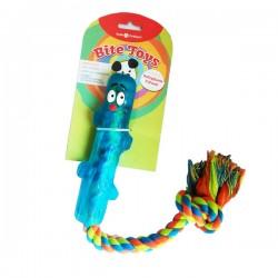 BITE TOYS Gioco bastone/osso in gomma galleggiante più corda  per cane 40 cm