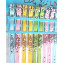 DOG LINE Collare Ecopelle con cuori in metallo e strass per Cane 28-33 cm