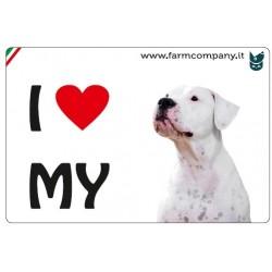 """FARM COMPANY Morbido Magnete """"I LOVE"""" Dogo Argentino 9x6 cm"""