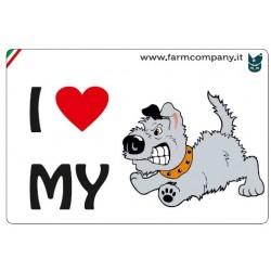 """FARM COMPANY Morbido Magnete """"I LOVE"""" Cane Fumetto3 9x6 cm"""