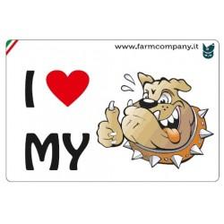 """FARM COMPANY Morbido Magnete """"I LOVE"""" Cane Fumetto2 9x6 cm"""